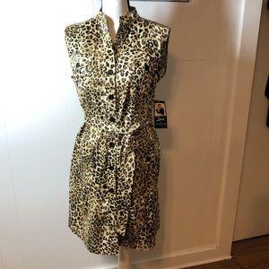 Nina Leonard Jack Leopard Print Shirt Dress NWT 12